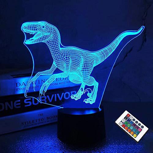 Luz de noche 3D, diseño de dinosaurio LED Jurásico Velociraptor Raptor para habitación de niños, decoración del hogar, regalos de cumpleaños con control remoto 16 colores cambiantes