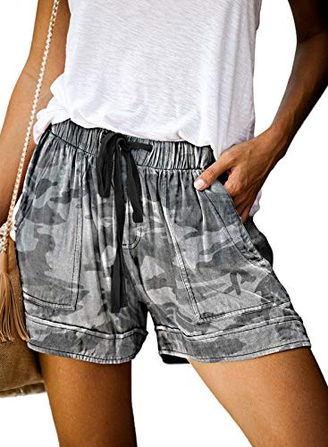 Acelitt Women Ladies Comfy Drawstring Casual Summer Elastic Mid Waisted Camouflage Shorts Pants with Pockets Large