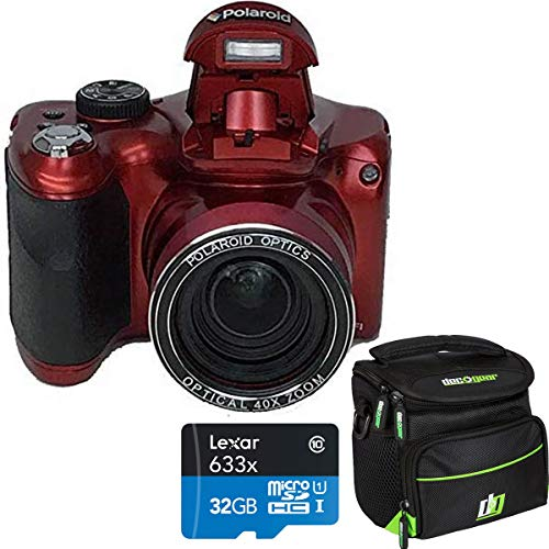 Polaroid 18MP 40x Zoom Instant Digital Camera with 3-inch TFT, Red IE4038-RED-STK-4 Bundle w/Deco Gear Camera Bag Case + Lexar High-Performance 633x microSDHC/microSDXC UHS-I 32gb Memory Card