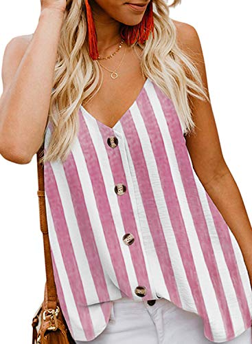BLENCOT Womens Ladies Sexy V Neck Spaghetti Strap Striped Tank Tops Solid Flowy Sleeveless Blouses Shirts Red S