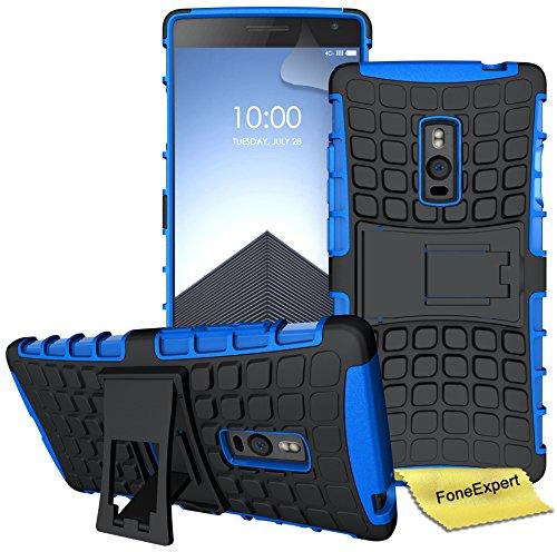 FoneExpert® OnePlus 2 / OnePlus Two Handy Tasche, Hülle Abdeckung Cover schutzhülle Tough Strong Rugged Shock Proof Heavy Duty Hülle für OnePlus 2 / OnePlus Two + Bildschirmschutzfolie (Blau)