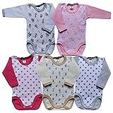 Body unisex de manga larga para bebé de Mea Baby, 100 % algodón, en paquete de 5 unidades, con estampado, body de manga larga para bebé Niñas 3 años