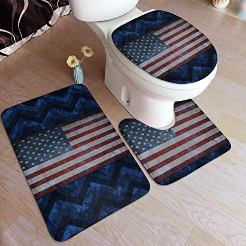 Beauty-Design Juego de 3 piezas de alfombra de baño con diseño de camuflaje digital azul cobalto, alfombra de baño absorbente antideslizante, alfombrilla de inodoro en forma de U, tapa de inodoro alargada