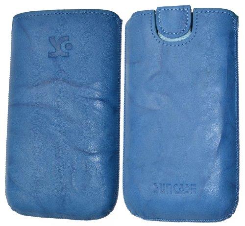 Suncase Original Tasche für AEG Voxtel SM315 Leder Etui Handytasche Ledertasche Schutzhülle Case Hülle - Lasche mit Rückzugfunktion* in wash blau
