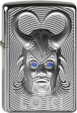 Zippo Loki 3D Emblem with Blue Swarovski Element Protective Coating Windproof Lighter Chrome brushed platinum finish, 1000, 6 x 4 x 2 cm Silver