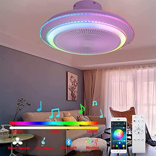RGB Cambios de Color Plafón LED Ventilador Techo con Luz y Mando a Distancia App Altavoz Bluetooth Música Iluminación Luces Regulable Silencioso Ventilador Lámpara 60W para Dormitorio Sala Oficina