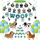 KEFAN Dog Party Supplies, Banner Swirls Cake Toppers Assorted Balloons and Foil Walking Dogs Set for Doggy Theme Birthday Party (Set A)