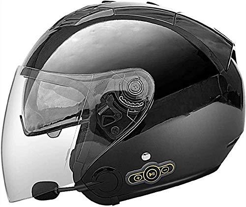 QDY Casco de Cara Abierta para Motocicleta con Bluetooth, Medio Casco Jet Certificación Dot/ECE con Visera Casco de Motocicleta Crash Moped Scooter Chopper Cruiser Pilot Racing Casco Unise