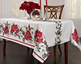 BENSON MILLS Botanical Christmas Herringbone Print Rectangle Tablecloth, 52 by 70-Inch