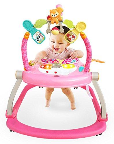 LZTET Schaukelstuhl Prahler Baby Walker Springstuhl Springen Fitness Spiel Aktivität Zentren Baby Spielzeug,Pink