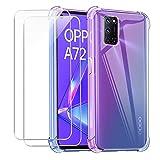 Reshias Hülle kompatibel mit Oppo A72,Weich Lila + Blau TPU Silikon Anti-Fall Handyhülle Schutzhülle mit Zwei Gehärtetes Glas Schutzfolie Bildschirmschutzfolie für Oppo A72