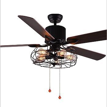 LHFJ Ventilateur de Plafond Vintage Ventilateur RC lumière