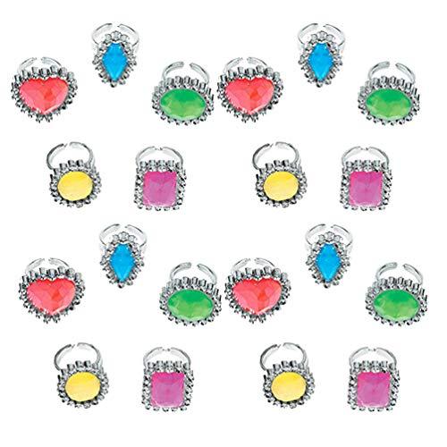STOBOK Plastikringe Prinzessin Pretend Spielen Ringe für Kinder Verkleiden Sich Geburtstagsfeiern,25 Stück (Zufällige Farbe)