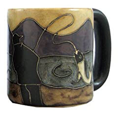 """One Individual Ceramic Stoneware Mug (Image Shows Front & Back View Only) - Dimensions: 5"""" x 3.75"""" x 4.25"""" - Capacity: 16 Oz. - Wgt: 1.5 Lbs. - Round Bottom Mug - call Sangre Home Decor 719.783.0799 with any questions. Unique - Distinctive - Handcraf..."""