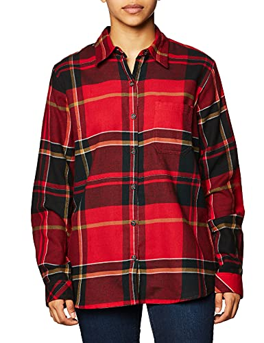 Dickies Women's Size Long-Sleeve Flannel Shirt, English Red Black Plaid, XX-Large Plus