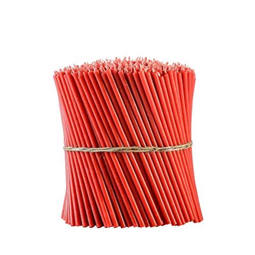 Danilovo Ritual Bienenwachs Kerzen (Rot) - Orthodoxe Kerzen für Gebet Tischdeko Hochzeit - Ungiftig, Ruß - Tropffrei, Lang, Nachhaltige Produkte, N60, Höhe: 20,5 cm, Ø 6,6 mm (50 stück - 334 g)