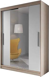 MEUBLO Armoire, Penderie avec 2 Portes coulissantes (L x H x P): 150x200x61 LARA 01 (Sonoma + Blanc)