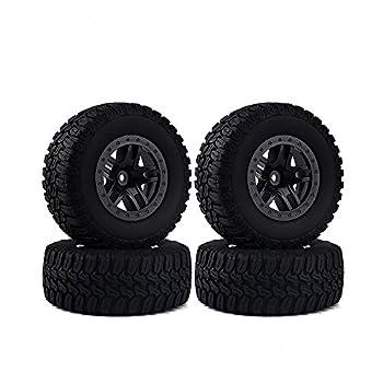 INJORA 4PCS Wheel Rim & Tires Set for 1/10 RC Short-Course Truck Slash HPI RC Model Car