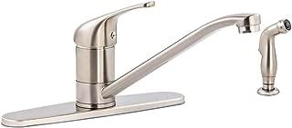 AmazonBasics Classic Kitchen Faucet Set with Sprayer, Satin Nickel