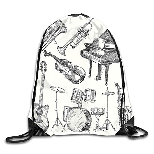 Illustration von Musikinstrumenten Sketch Style Kunst mit Trompete Klavier Gitarre Kordelzug Tasche Rucksack Schultertasche Turnbeutel