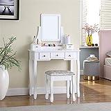 TMEE Coiffeuse moderne avec miroir 5 tiroirs Organiseur amovible en bois pour chambre à coucher, dressing, Blanc