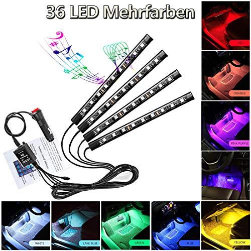 LED Atmosphäre Licht Auto Innenraumbeleuchtung Auto Fußraumbeleuchtung12V RGB Streifen Lichter Neon Lichter mehrfarbige Musik Induktion wasserdicht flexible StreifenLicht mit Fernbedienung (36 Leds)