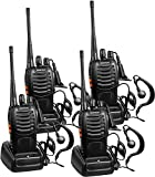 BaoFeng Walkie Talkies Rechargeable Long Range Two-Way Radios with Earpiece 4 Pack BF-888S UHF FRS for Adult Kids Li-ion Battery and Charger Included