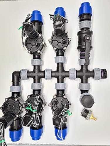 Vormontierter 5 Zonen Verteiler inkl. Rain Bird Magnetventile Bewässerung für Ventilbox, Anschluss Pe-Rohr 32 mm