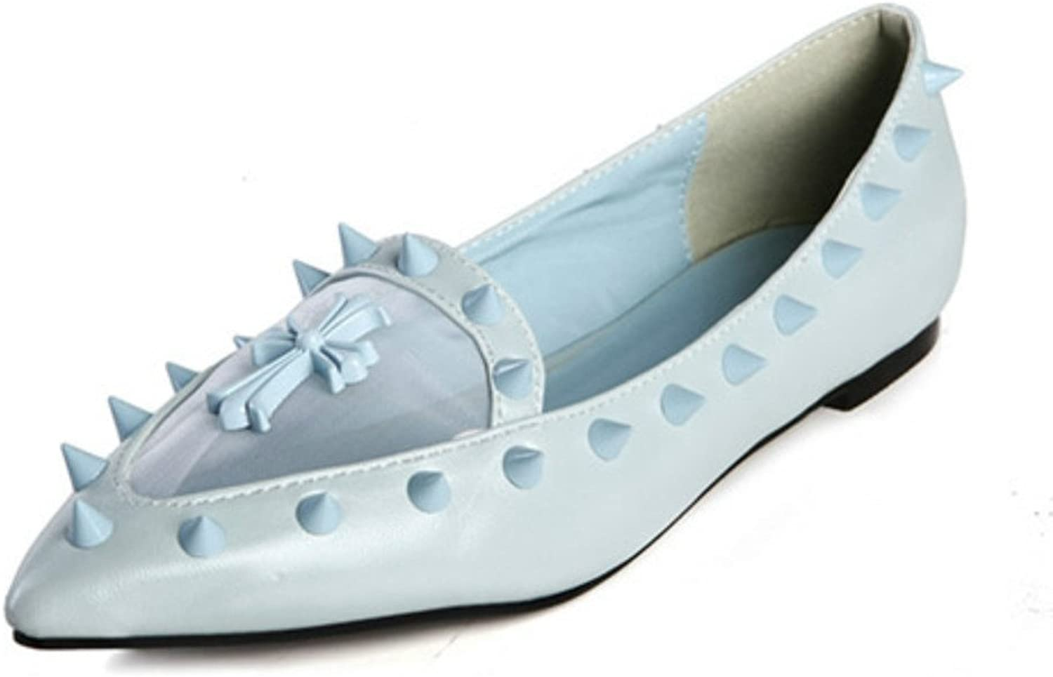 Kvoll bluee Pointed-Toe Flat with Cross and Rivet Detailing
