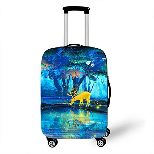 Elastic Luggage Cover, CNNINHAO 3D Print Trolley Case Protective Travel Suitcase Anti Scratch Dustproof Resistant Case Trolley Skin Protector Elasticized Washable (Deer 1,L (26-28inch))