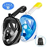 Gvoo Tauchmaske 2 Pack Tauchmaske Vollgesichtsmaske mit Leichter Atmung, 180°Meerblick Antibeschlag...