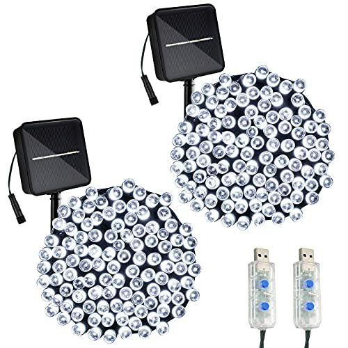 White String Lights with Solar/USB Powered, 8 Modes & Timer Fairy Lights for Outdoor,Indoor,Garden,Bedroom Decorations(2 Pack 100 LED 39.4ft)