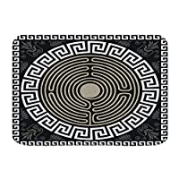NIESIKKLA バスマット、伝統的なヴィンテージの白いギリシャの装飾と波のデザイン、マット滑り止め ソフトタッチ 丸洗い 洗濯 台所 脱衣場 キッチン 玄関やわらかマット 45x 75cm