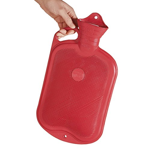 Sänger Rubber Hot Water Bottle - 2 litres (Red with Handle, One-Side Ribbed)