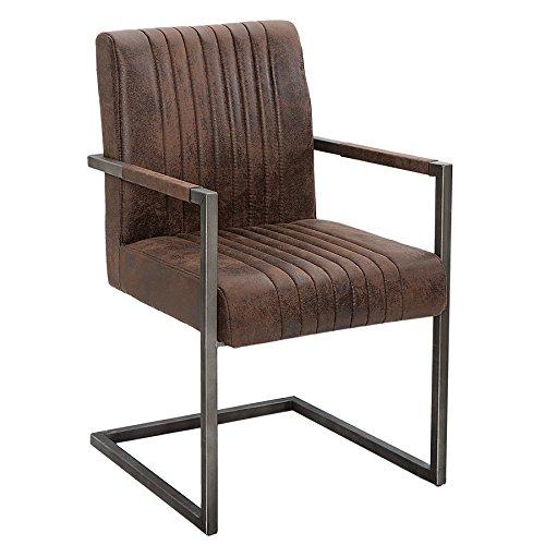 Invicta Interior Freischwinger Stuhl Big Aston mit gebürstetem Eisengestell Vintage braun mit Hohem...