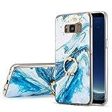 DEFBSC für Samsung Galaxy S8 Plus Marmor Hülle, Blau