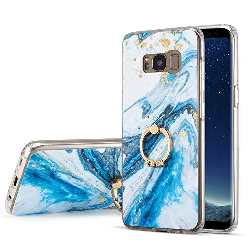DEFBSC für Samsung Galaxy S8 Marmor Hülle, Blau Marmor Handyhülle mit 360 Grad Ring Ständer Ultra Dünn Soft TPU Bumper Marmor Handyhülle Protective Back Cover Hülle für Samsung Galaxy S8, Blau