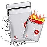 Bolsa Ignifuga Impermeable, Bolsas Ignifugas Documentos, Bolsa de Capacidad Grande para Maxima Protección (Plata)