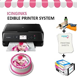 Cake Printer Bundle Package – Cake Image Printer, Ink Cartridges, Frosting Sheets, Cleaning Kit, Free Image Designing Lifetime, Printer for Cakes by Icinginks