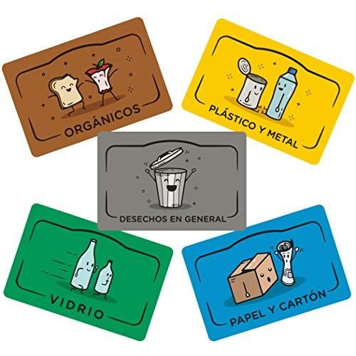 Rekay Imanes para el Reciclaje, 5 Etiquetas Magnéticas para Reciclar, Etiqueta los Cubos de Basura de Reciclaje con Imanes en Español de 11x7cm Cada uno