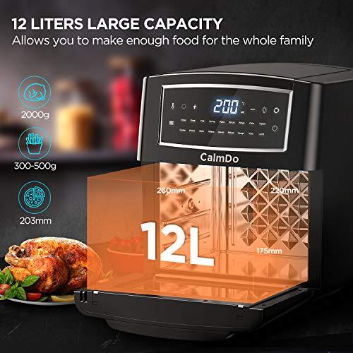 Freidora sin Aceite, CalmDo 12L Horno de Aire Caliente con 18 Programas, Pantalla LED Táctil, 1500W Temperatura y Temporizador Ajustable, con 10 Accesorios y Receta de Cocina