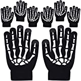 Cooraby 4 Pairs Unisex Touchscreen Skeleton Gloves Stretch Knitted Full Finger Skeleton Texting Gloves Halloween Accessories (Color A, Kids)
