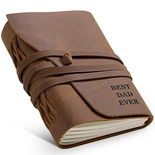 Geschenke für Männer, Weihnachtsgeschenke für Vater, Leder-Tagebuch, Schreib-Notizbuch, Ledergebundenes Tagebuch, 7 x 5, Echtleder-Notizblock für Männer