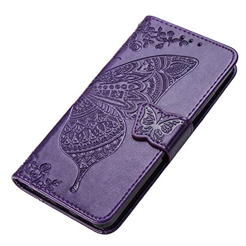 HAOYE Hülle für Motorola Moto G8 Power Lite Hülle, Schmetterling Geprägtem PU Leder Magnetische Filp Handyhülle mit Kartensteckplätzen/Standfunktion, Anti-Rutsch Schutzhülle. Dunkel Violett