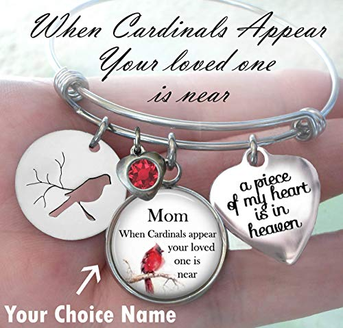 When Cardinals Appear Your Loved One Is Near, Custom Name Memorial Bangle Bracelet, Grief Relief, Sympathy Bereavement Gift, A Piece of My Heart Is In Heaven, Teens, Small, Medium or Large