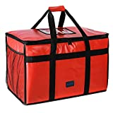 """cherrboll Insulated Food Delivery Bag -23""""x14""""x15"""", Premium Large Commercial Catering Bag for Food Transport, Thermal Food Carrier with Side Pockets, Extra Strength Zipper & Thick Insulation, Red"""