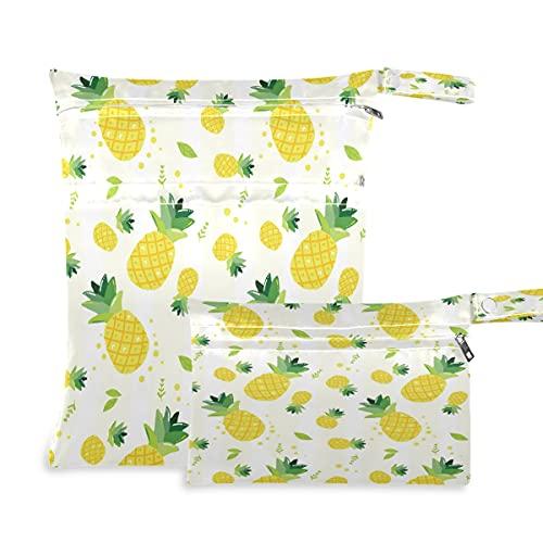BOLOL - Bolsa húmeda, 2 bolsas de pañales de tela, hojas de palma tropical, impermeable, reutilizable, con cremallera, para pañales, para viajes, natación, piscina, guardería, gimnasio, cochecito