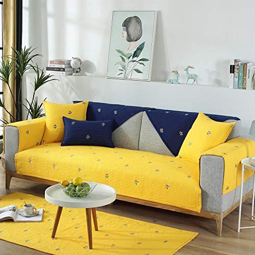 YUTJK Funda para Sofá Universal,Cojín de sofá Bordado de Cactus,Capa de Respaldo Antideslizante,cojín de Silla de algodón,Alfombra de Sala de Estar-Yellow_90*90cm