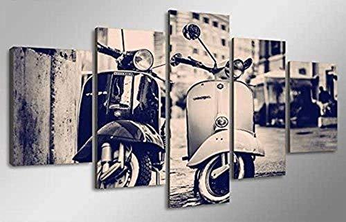 Cuadro de lienzo 5 paneles de partes Impresión de arte de pared Completamente Scooter Vespa Italia Cartel de decoración del hogar moderno listo para colgar para obras de arte de oficina en casa