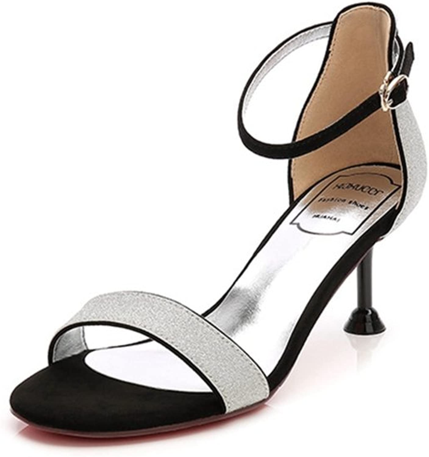 Zarbrina Women's Heel Sandals Open Toe Ankle Strappy Formal Wedding Plated Stiletto Buckle Party Simple shoes